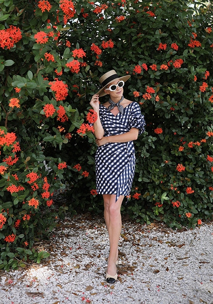 dress hat tumblr gingham dresses gingham mini dress off the shoulder off the shoulder dress shoes sunglasses white sunglasses sun hat glasses sunnies white round sunglasses retro sunglasses accessories Accessory