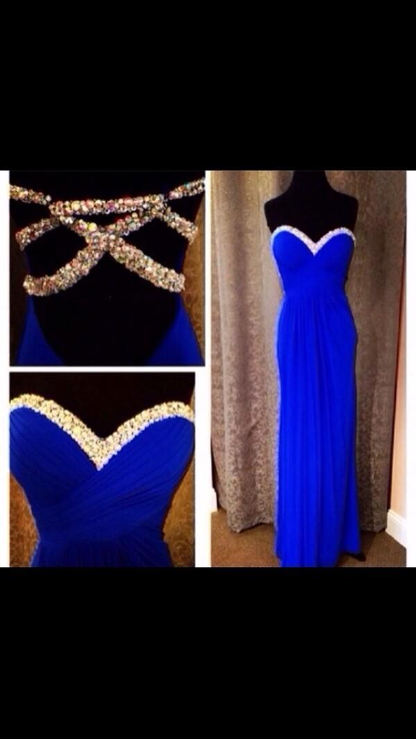 dress blue prom dress open back