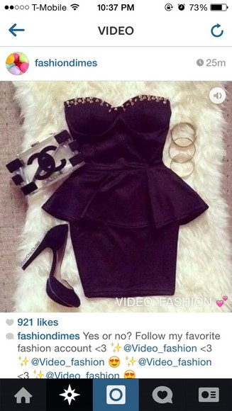 studs dress little black dress peplum peplum dress black, peplum, peplumdress, tight, sheer, black dress bag