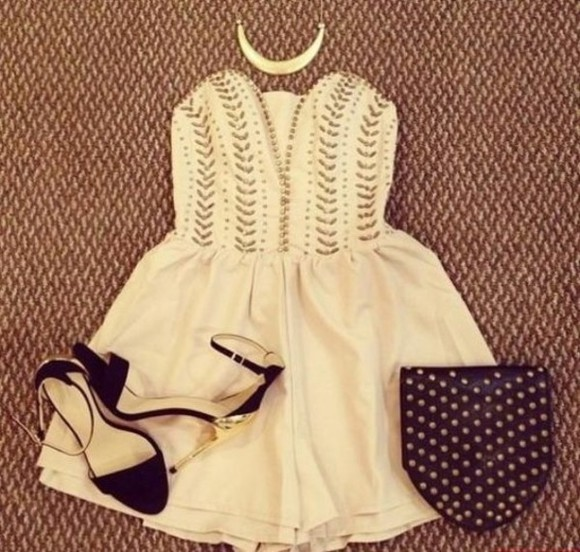 dress bag prom strapless formal girly cute summer gold shoes high heels flirty short dress bodice necklace