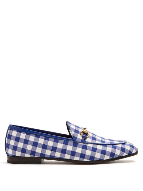 gucci loafers gingham white blue shoes