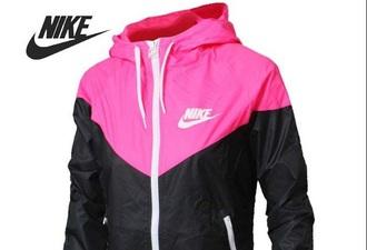 jacket nike cute pink white black nike windbreaker