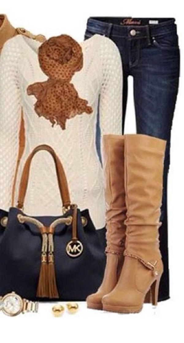 sweater shoes jeans bag scarf