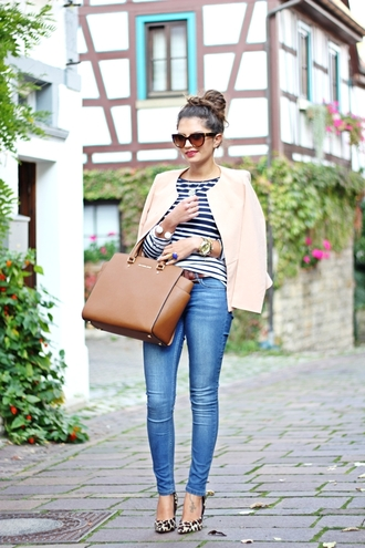 fashionhippieloves blogger jacket jeans sunglasses belt bag tailoring leopard print high heels leather bag striped sweater