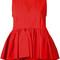 Msgm ruffle detail top, women's, size: 40, red, cotton/polyurethane/spandex/elastane