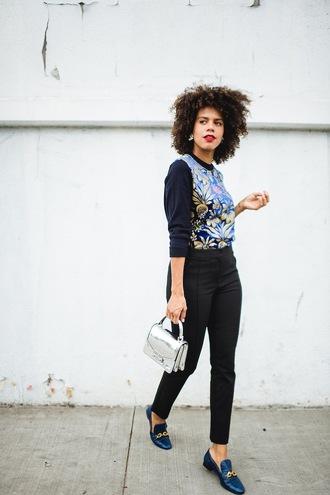 top tumblr blue top floral floral top pants black pants shoes blue shoes loafers bag silver bag