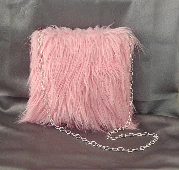 Pink Faux Curly Mongolian Lamb Fur Purse Handbag Tote Bag Purse Handmade