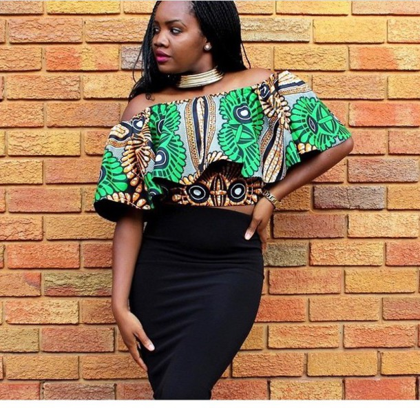 top african print off the shoulder top blouse african american