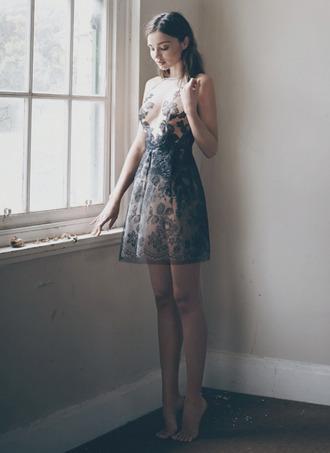 dress floral transparent miranda kerr romantic dress short dress see through dress sleeveless dress lace dress lace tumblr romantic summer dress classy