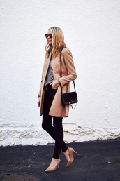 fashionjackson,blogger,coat,sweater,jeans,shoes,bag,sunglasses,jewels,shoulder bag,nude coat,fall coat,winter work outfit,tumblr,work outfits,office outfits,black jeans,camel,camel coat,grey sweater,black bag,pumps,pointed toe pumps,high heel pumps,black sunglasses