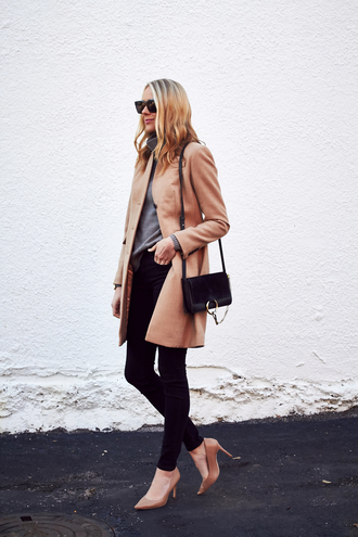 fashionjackson blogger coat sweater jeans shoes bag sunglasses jewels shoulder bag nude coat fall coat winter work outfit tumblr work outfits office outfits black jeans camel camel coat grey sweater black bag pumps pointed toe pumps high heel pumps black sunglasses