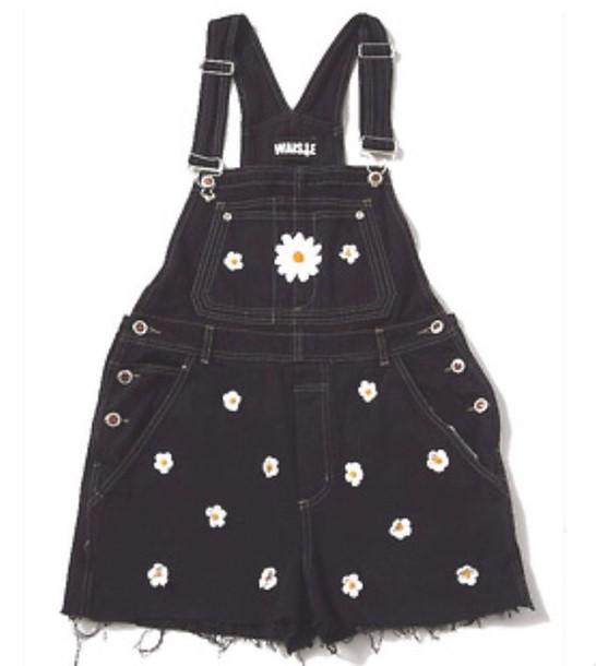 shorts overalls daisy black daisy denim
