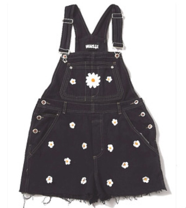 shorts overalls daisy black daisy denim