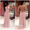 Niceoo dresses | sexy pink a-line/princess v neck floor length chiffon prom dresses with beaded open back