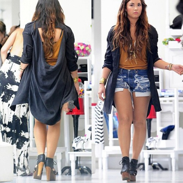 coat demi lovato blouse shorts