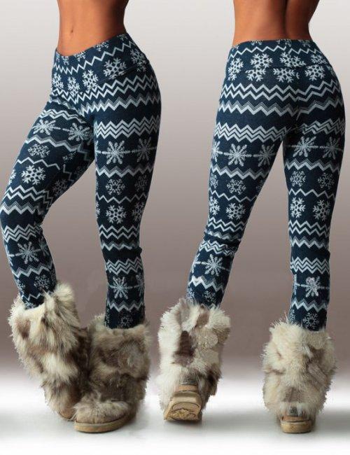 Women's Winter Angora Snowflake Pattern Printed Skinny Leggings Pants