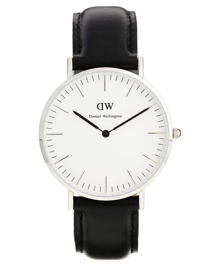 Daniel Wellington Classic Black Sheffield Silver Rim Large Watch at asos.com