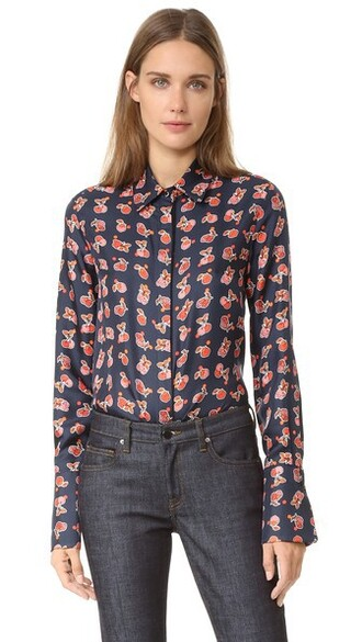 shirt button up shirt navy top