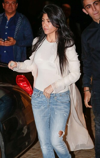 top cardigan kourtney kardashian denim spring outfits kardashians
