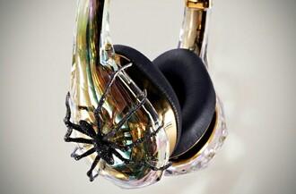 earphones gold headphones glittery spider