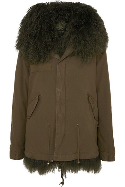 MR & MRS ITALY - Hooded Shearling-lined Cotton-canvas Parka - Dark green