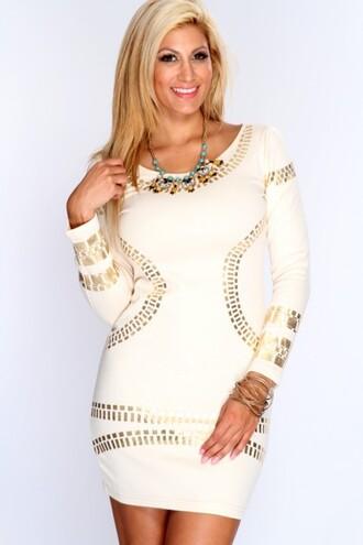 kim kardashian dress amiclubwear clothing amiclubwear dress sexy dress short dress ivory dress white dress cream dress beige dress long sleeves gold jewelry dress