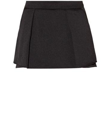 Black Crepe Layered Pleated Mini Skirt
