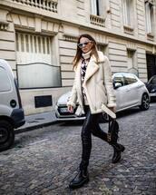 coat,faux fur,ankle boots,skinny pants,leather pants,turtleneck,turtleneck sweater,sunglasses,earrings