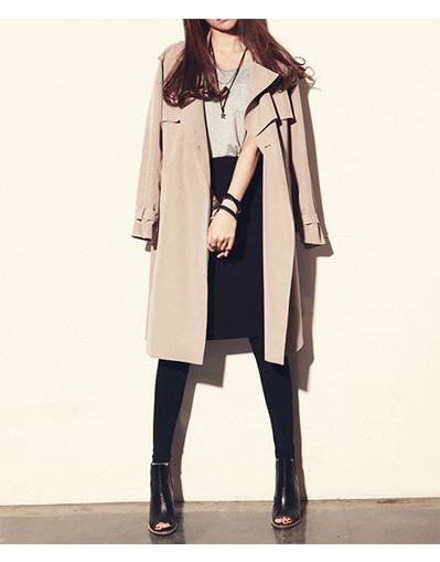 British style long trench coat parka jacket beige nude