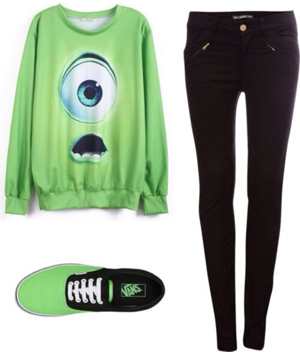 sweater green cute monsters sa jeans