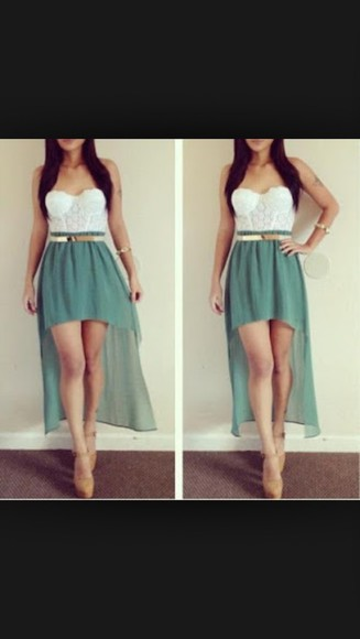 dress high-low dresses beautiful dress green dress