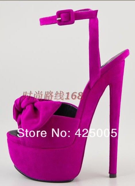 Suede genuine leather bow tie platform high heel dress shoes buckle sandals Free shipping-in Pumps from Shoes on Aliexpress.com