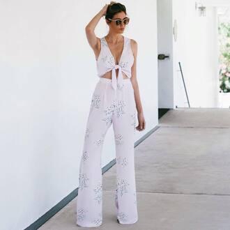 jumpsuit tumblr cut-out wide-leg pants white jumpsuit sleeveless sunglasses summer outfits