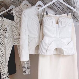 top jacket white white top blazer maxi skirt all white everything skirt pants leggings cream
