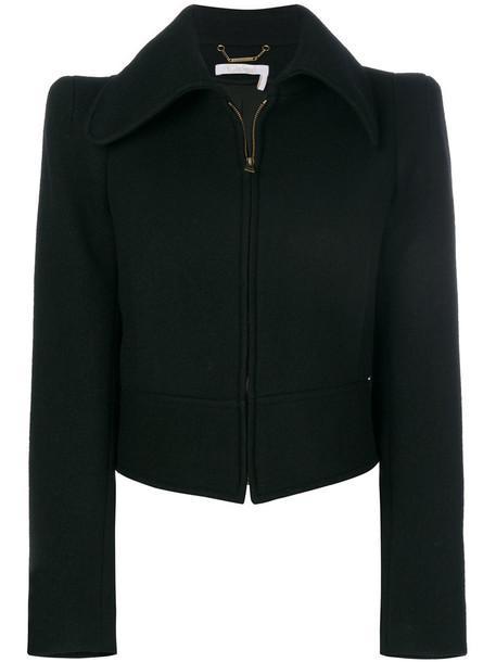 jacket zip women cotton black silk wool
