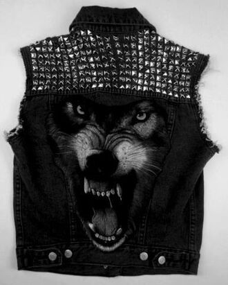 jacket wolf studs jeans denim jacket studded 3d punk волк шипы жилетка wolf jacket vest wolf grey studded jacket