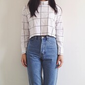 turtleneck t-shirt,turtleneck,black,white,grid line top,pattern,style,trendy,winter sweater,winter outfits,crop tops,warm,hmdivided,black and white,monochrome,tiledsweater,tiledpleatedskirt,tiledshirt,checkered,shirt,tumblr,grid,aesthetic,blouse,long sleeves