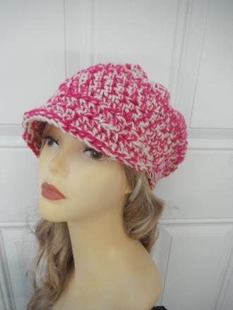 pink hat hat newsboy hat crochet hat
