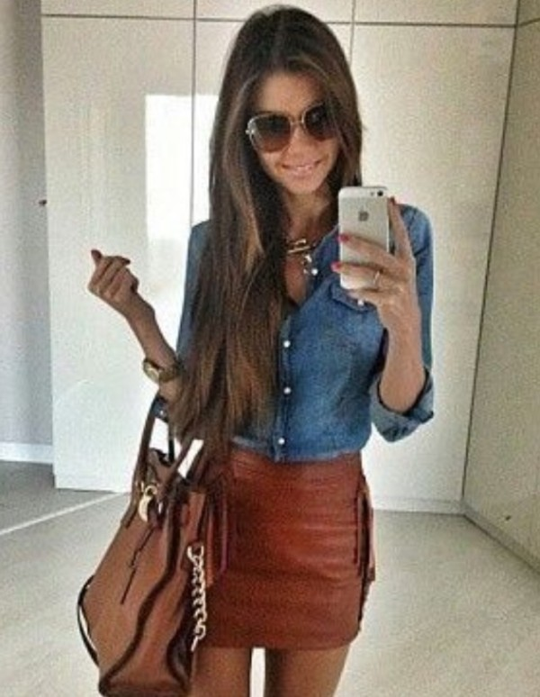 skirt leather leather skirt bag