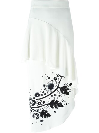 skirt asymmetrical ruffle white