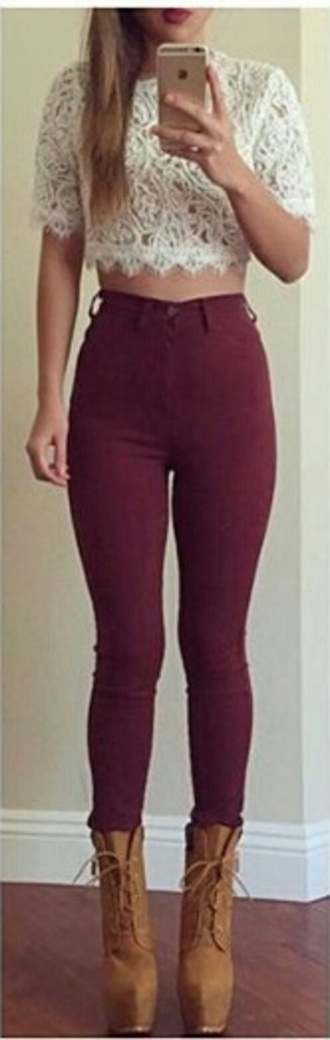 jeans bordeau pants high waisted jeans high waisted girly