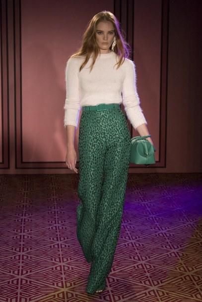 pants sweater high waisted green nyfw 2017 ny fashion week 2017 runway brandon maxwell