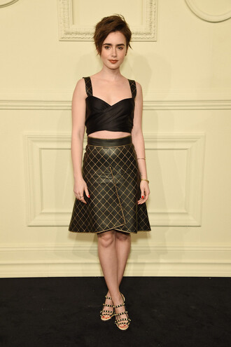 skirt crop crop tops lily collins sandals