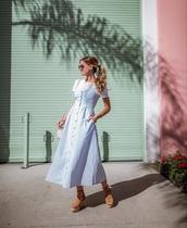 dress,light blue dress,midi dress,white t-shirt,t-shirt,platform sandals,sandals,spring outfits
