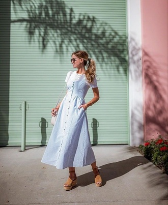 dress light blue dress midi dress white t-shirt t-shirt platform sandals sandals spring outfits