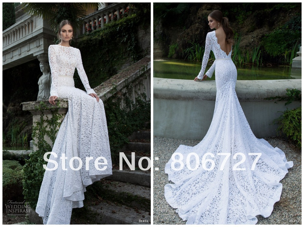 Elegant scoop long sleeve lace mermaid bridal gown julie for Aliexpress mermaid wedding dresses