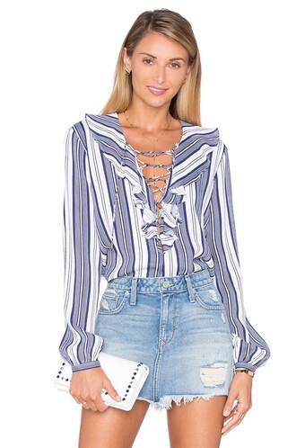 blouse boho ruffle navy