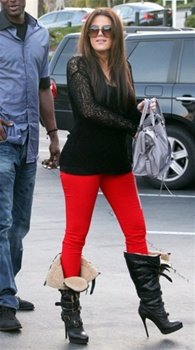Rise skinny twill in bright red as seen on khloe kardashian