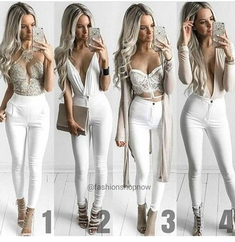 pants skinny pants white pants high waisted pants jeans skinny jeans high waisted jeans white jeans outfit outfit idea summer outfits cute outfits spring outfits date outfit party outfits clubwear trendy fashion style stylish clutch fall outfits cardigan long cardigan long sleeves top white top summer top cute top crop tops white crop tops statement necklace necklace cute high heels cute shoes summer pants summer shoes party shoes clubbing  shoes sexy shoes heels high heels strappy heels lace up heels nude heels peep toe heels nude high heels bracelets shoes pumps high heel pumps peep toe pumps peep toe