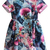 Blue Short Sleeve Floral Flare Dress - Sheinside.com